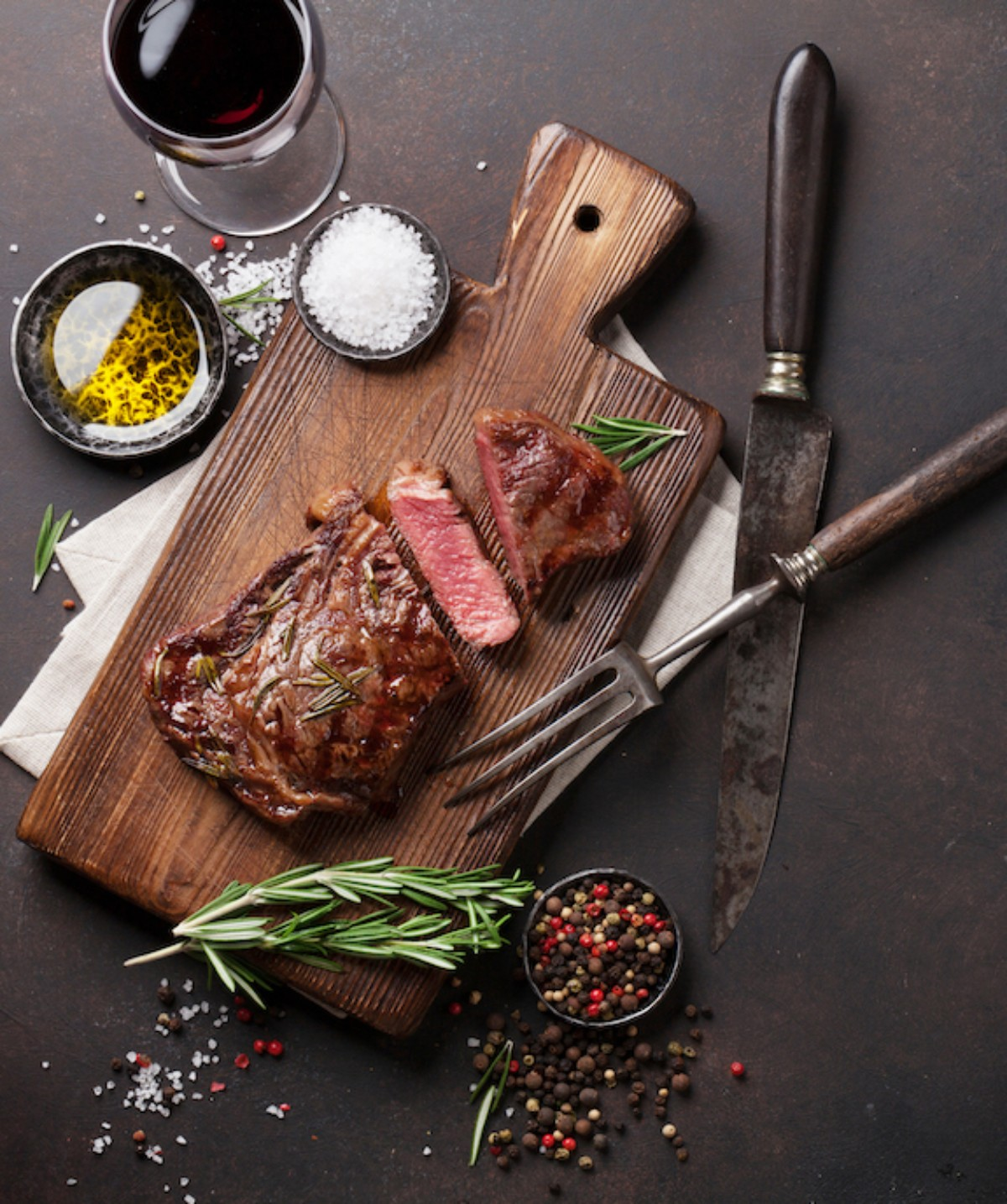 Steak on a cutting board