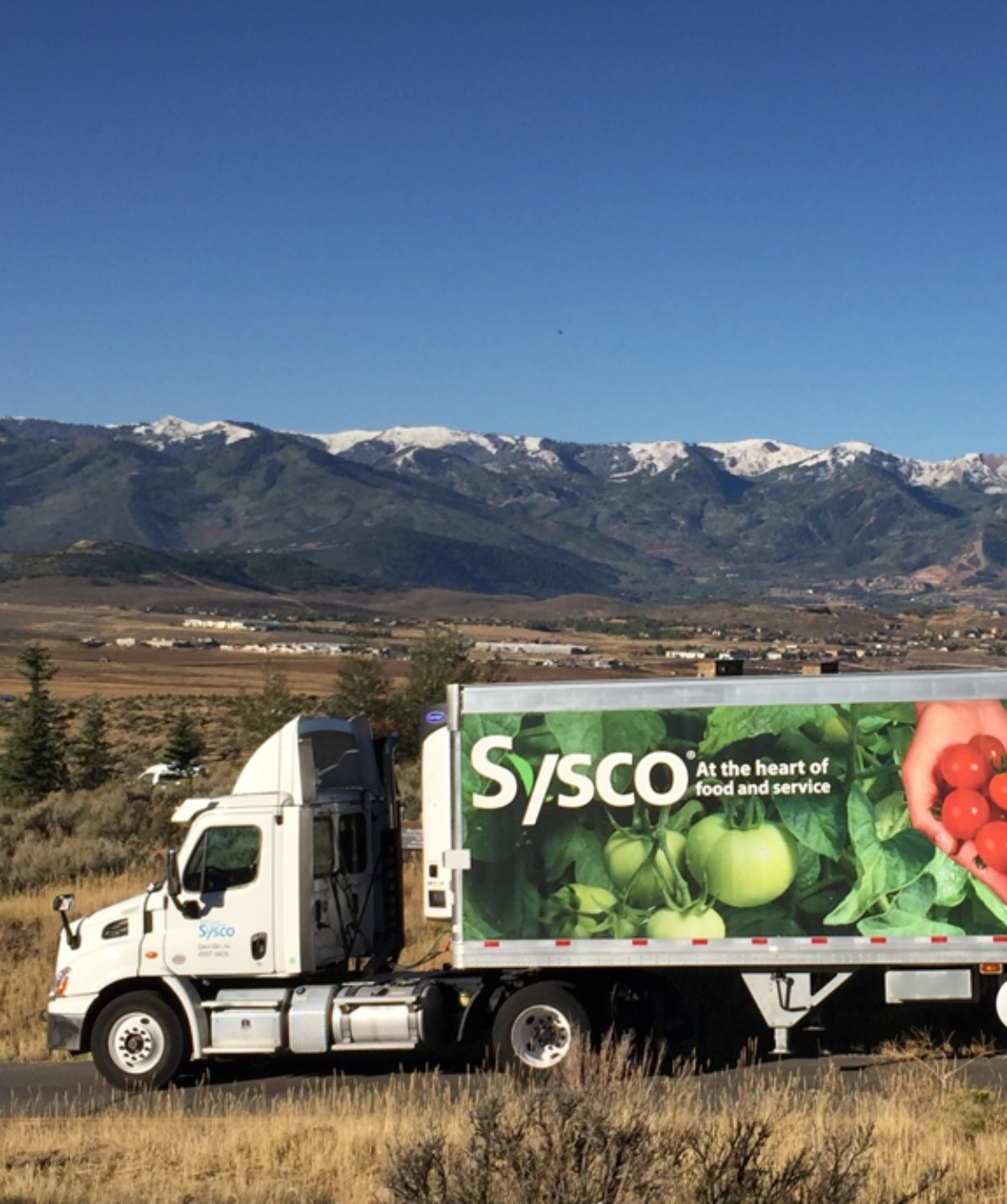 Sysco truck in front of mountains